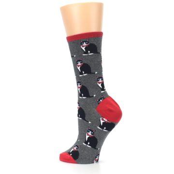Image of Gray Black Tuxedo Cats Women's Dress Socks (side-2-back-14)
