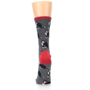 Image of Gray Black Tuxedo Cats Women's Dress Socks (back-18)