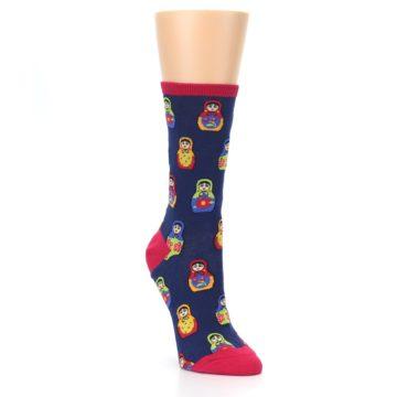 Image of Navy Multi Nesting Dolls Women's Dress Socks (side-1-front-02)