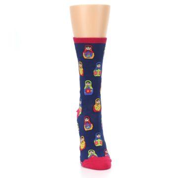 Image of Navy Multi Nesting Dolls Women's Dress Socks (front-04)