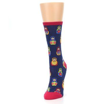 Image of Navy Multi Nesting Dolls Women's Dress Socks (side-2-front-07)