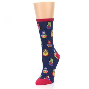 Image of Navy Multi Nesting Dolls Women's Dress Socks (side-2-front-08)