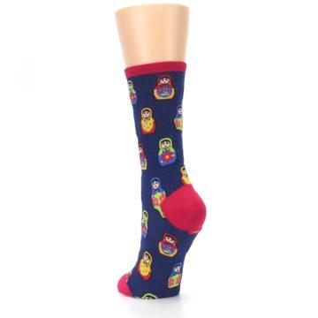 Image of Navy Multi Nesting Dolls Women's Dress Socks (side-2-back-16)