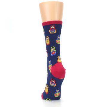 Image of Navy Multi Nesting Dolls Women's Dress Socks (back-17)