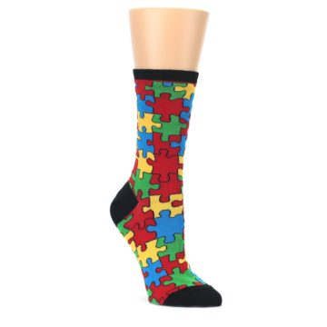 Black-Multi-Puzzled-Womens-Dress-Socks-Socksmith