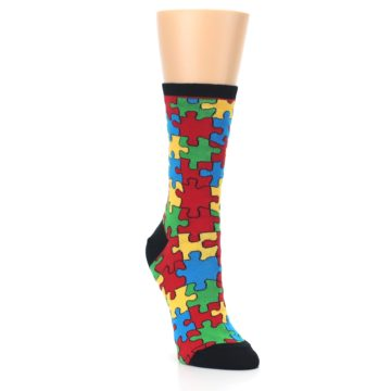 Image of Black Multi Puzzled Women's Dress Socks (side-1-front-02)