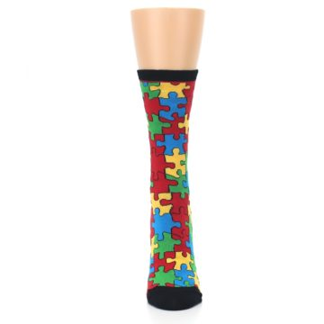 Image of Black Multi Puzzled Women's Dress Socks (front-05)