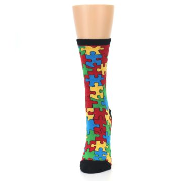 Image of Black Multi Puzzled Women's Dress Socks (side-2-front-06)