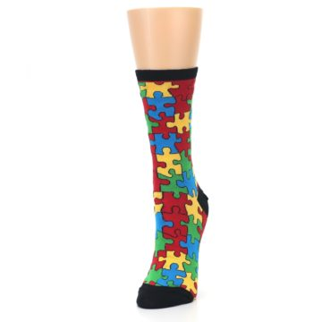 Image of Black Multi Puzzled Women's Dress Socks (side-2-front-07)