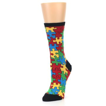 Image of Black Multi Puzzled Women's Dress Socks (side-2-front-08)