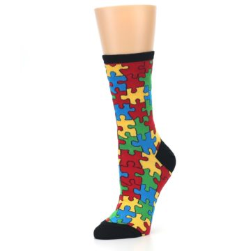 Image of Black Multi Puzzled Women's Dress Socks (side-2-09)