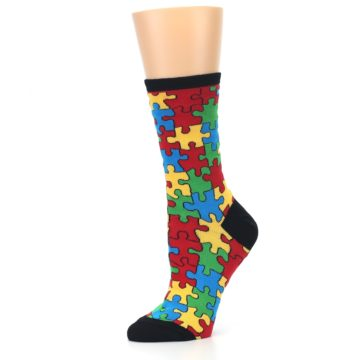 Image of Black Multi Puzzled Women's Dress Socks (side-2-10)