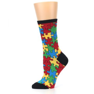 Image of Black Multi Puzzled Women's Dress Socks (side-2-11)