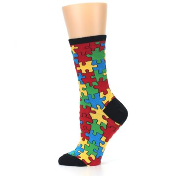 Image of Black Multi Puzzled Women's Dress Socks (side-2-12)