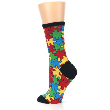 Image of Black Multi Puzzled Women's Dress Socks (side-2-back-14)