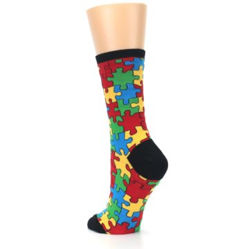 Image of Black Multi Puzzled Women's Dress Socks (side-2-back-15)
