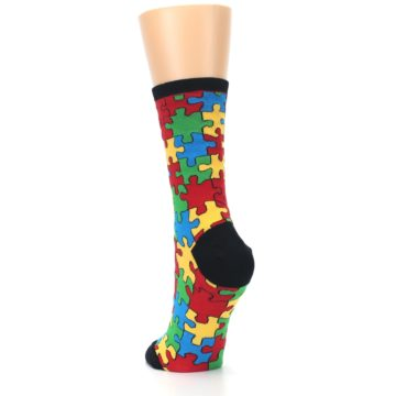 Image of Black Multi Puzzled Women's Dress Socks (side-2-back-16)