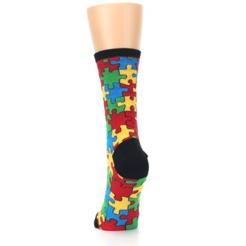Image of Black Multi Puzzled Women's Dress Socks (back-17)