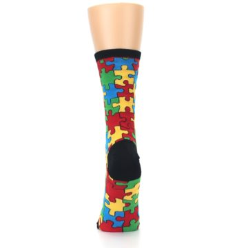 Image of Black Multi Puzzled Women's Dress Socks (back-18)
