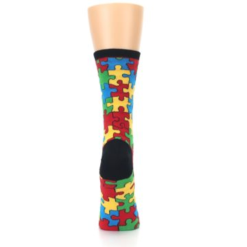 Image of Black Multi Puzzled Women's Dress Socks (back-19)
