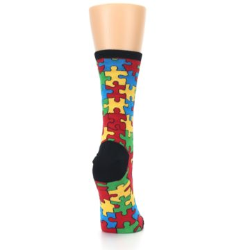 Image of Black Multi Puzzled Women's Dress Socks (side-1-back-20)