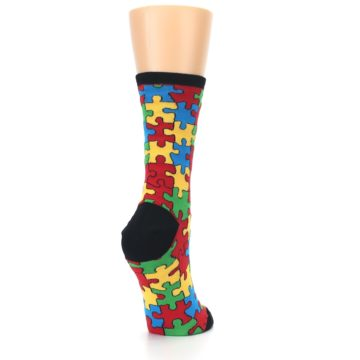 Image of Black Multi Puzzled Women's Dress Socks (side-1-back-21)