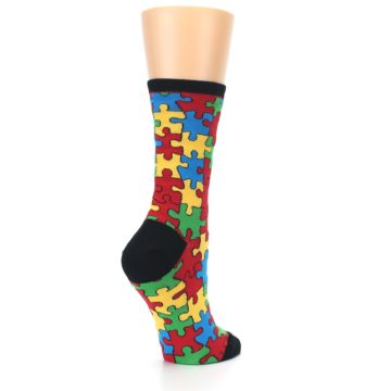 Image of Black Multi Puzzled Women's Dress Socks (side-1-back-22)