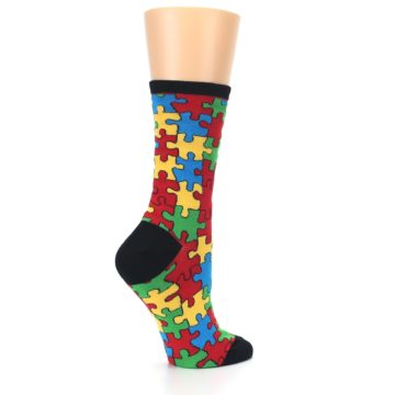 Image of Black Multi Puzzled Women's Dress Socks (side-1-23)