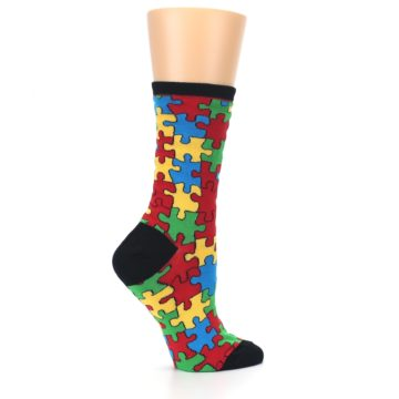 Image of Black Multi Puzzled Women's Dress Socks (side-1-24)