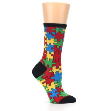 Image of Black Multi Puzzled Women's Dress Socks (side-1-25)