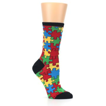 Image of Black Multi Puzzled Women's Dress Socks (side-1-26)