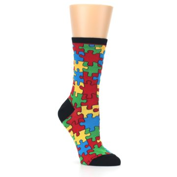 Image of Black Multi Puzzled Women's Dress Socks (side-1-27)