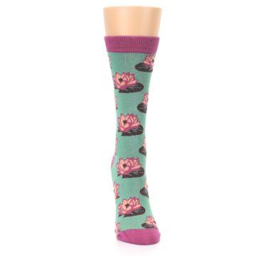 Image of Mint Pink Lotus Flower Bambo Women's Dress Socks (front-04)