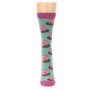 Image of Mint Pink Lotus Flower Bambo Women's Dress Socks (front-05)