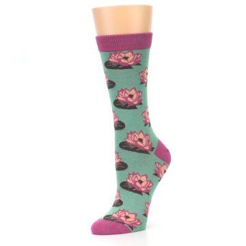 Image of Mint Pink Lotus Flower Bambo Women's Dress Socks (side-2-09)