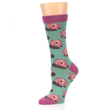 Image of Mint Pink Lotus Flower Bambo Women's Dress Socks (side-2-10)