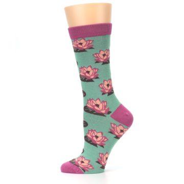 Image of Mint Pink Lotus Flower Bambo Women's Dress Socks (side-2-12)