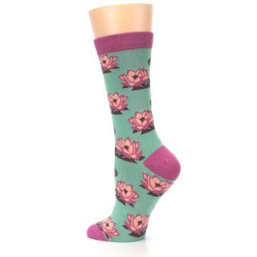 Image of Mint Pink Lotus Flower Bambo Women's Dress Socks (side-2-back-14)