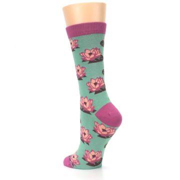 Image of Mint Pink Lotus Flower Bambo Women's Dress Socks (side-2-back-15)