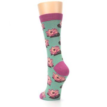 Image of Mint Pink Lotus Flower Bambo Women's Dress Socks (side-2-back-16)