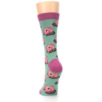 Image of Mint Pink Lotus Flower Bambo Women's Dress Socks (back-17)