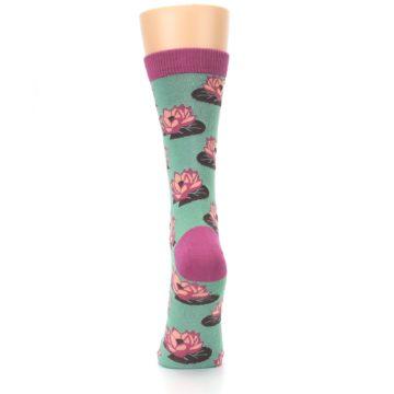 Image of Mint Pink Lotus Flower Bambo Women's Dress Socks (back-18)