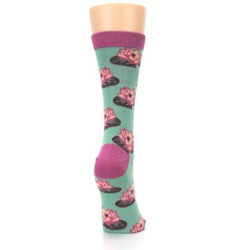 Image of Mint Pink Lotus Flower Bambo Women's Dress Socks (side-1-back-20)