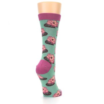Image of Mint Pink Lotus Flower Bambo Women's Dress Socks (side-1-back-21)