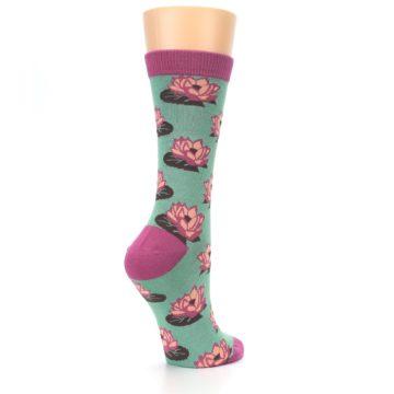 Image of Mint Pink Lotus Flower Bambo Women's Dress Socks (side-1-back-22)