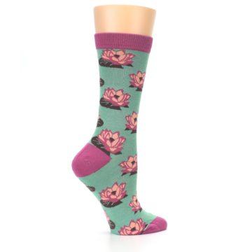 Image of Mint Pink Lotus Flower Bambo Women's Dress Socks (side-1-24)