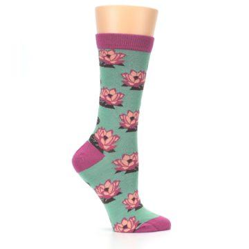 Image of Mint Pink Lotus Flower Bambo Women's Dress Socks (side-1-25)