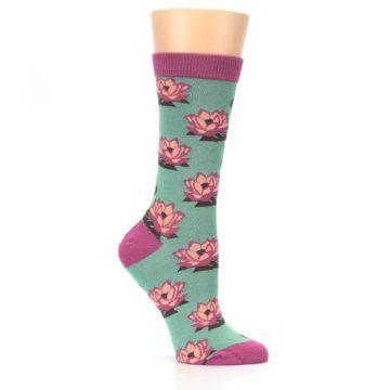 Image of Mint Pink Lotus Flower Bambo Women's Dress Socks (side-1-26)