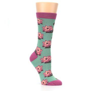 Image of Mint Pink Lotus Flower Bambo Women's Dress Socks (side-1-27)