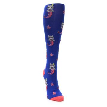 Image of Blue Coral Purrmaid Cat Women's Knee High Sock (side-1-front-03)